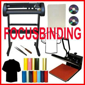 """15x15 Heat Press,24"""" 500g Metal Vinyl Cutter,Printer CISS Ink PK"""
