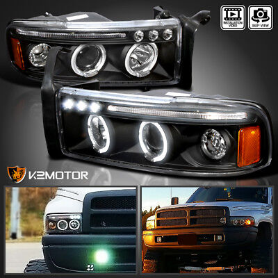 1994-2001 Dodge Ram 1500 2500 3500 LED Halo Projector Headlights Black Pair