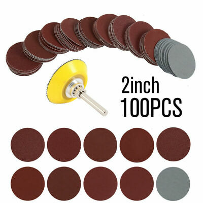 - 2Inch 100pcs Sanding Discs Pad Kit Round Sand Paper Hook Loop Sander Backer US
