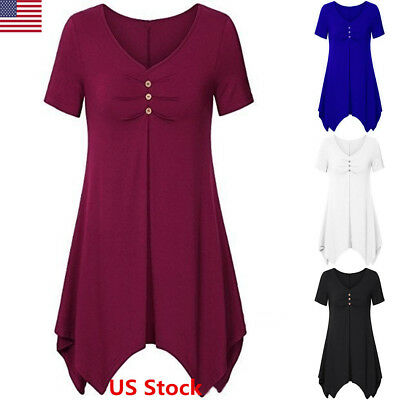 Usa Women Short Sleeve Long Tunic Swing Blouse Dress Top Flare Hem Loose Shirt