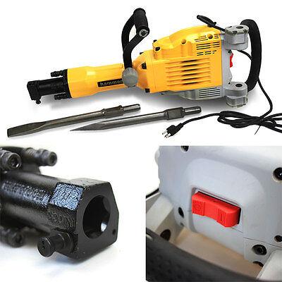 HD 3600 Watt Electric Demolition Jack Hammer Concrete Breaker Punch + Chisel Bit