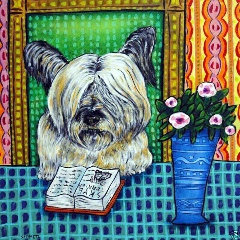 SKYE TERRIER reading a book dog art tile coaster