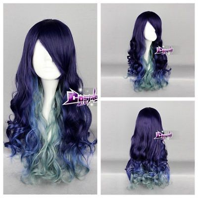 Purple Mixed Blue Green Long Curly Lolita Hair Lolita Ombre Anime Cosplay Wig - Teal Wig