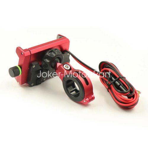 Red Aluminum Motorcycle Bike Handlebar Cell Phone Holder Mount USB Fast Charger