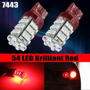 2pcs T20 Red 7443 7440 54SMD LED Car Brake Tail Stop Light Lamp