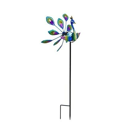 Peacock Solar Wind Spinner Outdoor Decor