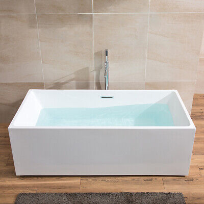 67 Inch Rectangle Freestanding Acrylic White Bathtub with Overflow & Drain cUPC