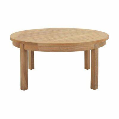 Hawthorne Collections Outdoor Teak Round Coffee Table in Natural Teak Round Coffee Table
