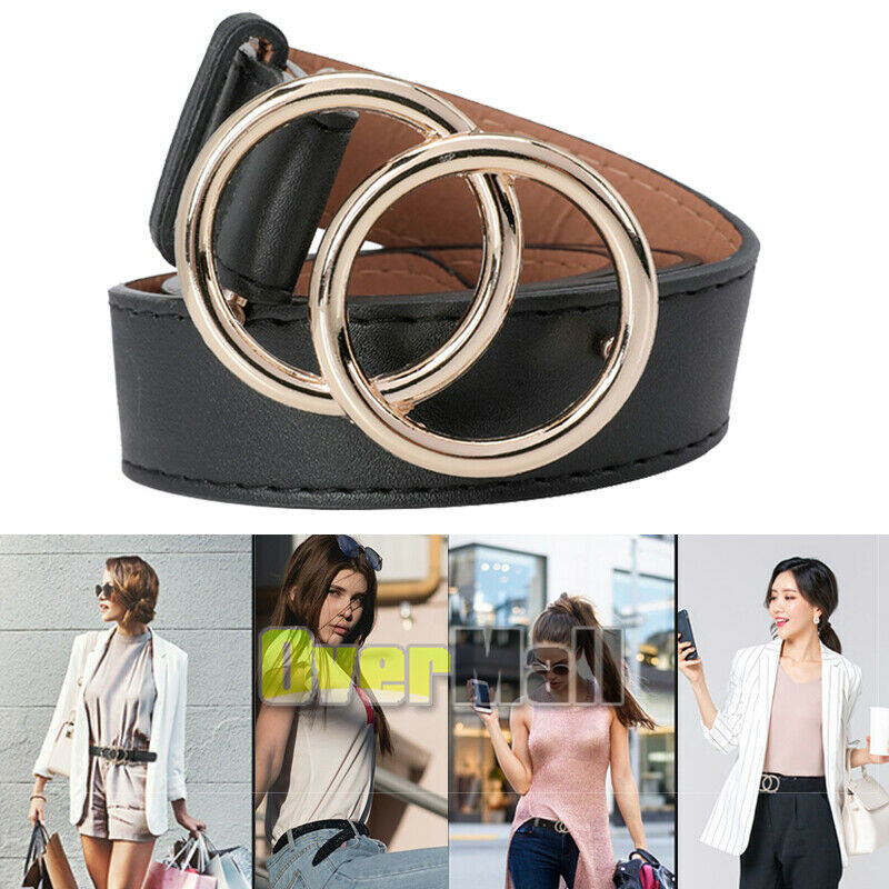 Womens Belts For Jeans With Double O-ring Women Casual Fashion Faux Leather Belt