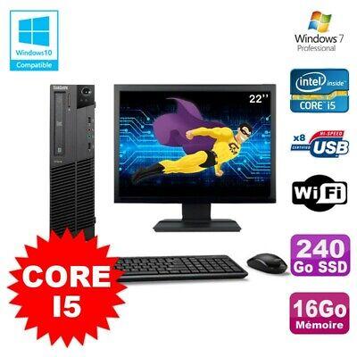 Lot PC Lenovo M91p 7005 SFF Core I5 3,1Ghz 16Go 240Go SSD WIFI W7 Pro + Ecran 22