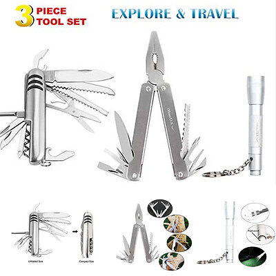 Outdoor Survive Camping Multi Tool Kit Pocket Knife Flashlight Pliers Tools