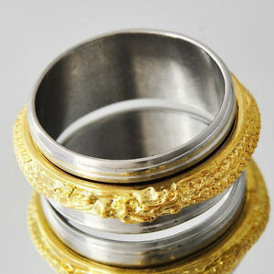 Spinner Stainless Steel with gold filled dragon spin insert Ring