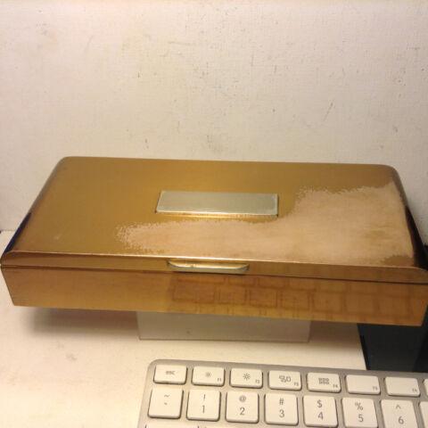 VTG SILVER CREST BRONZE BOX CEDAR LINED W MATCHING FRAME