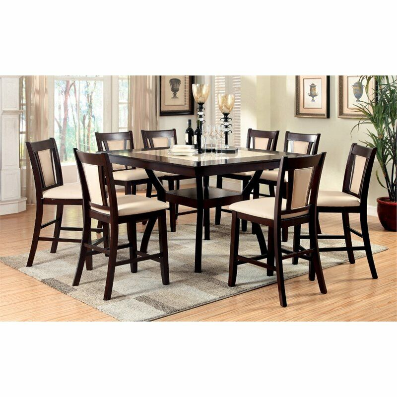 Furniture Of America Melott 9 Piece Counter Height Dining Set