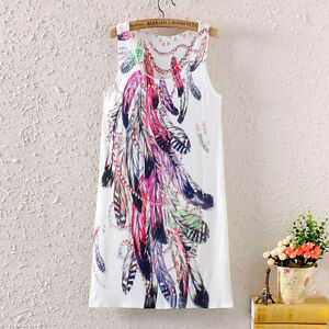 New Summer Fashion Women Sleeveless Feather Graphic Printed Cocktail Short Dress