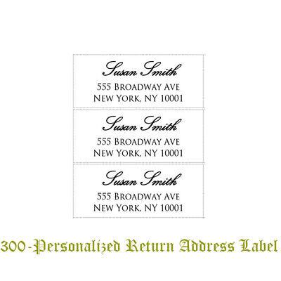 300 Custom Printed Large Center Aligned Script Return Address Labels 1 X 2-58