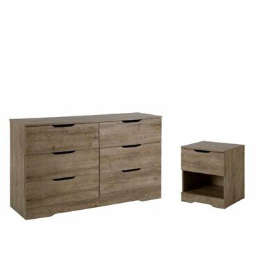 2 Piece Set with Dresser and Nightstand in Weathered -