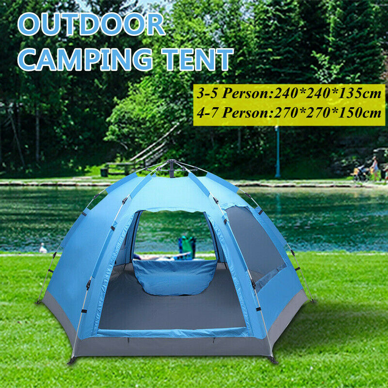 3-7 Person Waterproof Instant Auto Pop Up Family Camping Ten