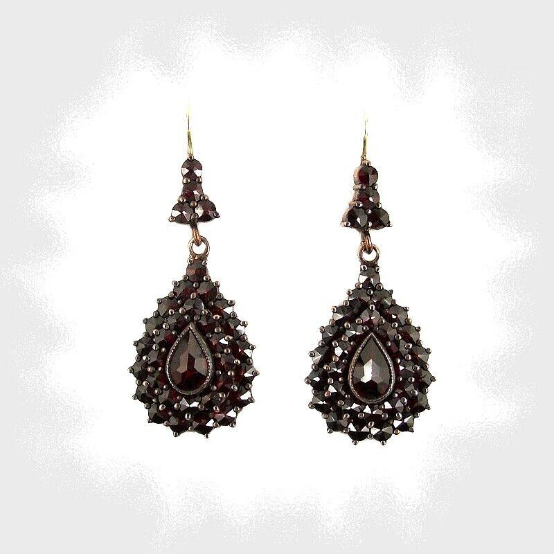 Vintage Bohemian garnet drop earrings w/14ct solid gold earwires  ГРАНАТ 147