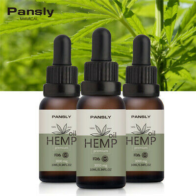 2Pack Hemp Seed Oil Drops 3000mg Organic Anti-Inflammatory Joint Pain Sleep US