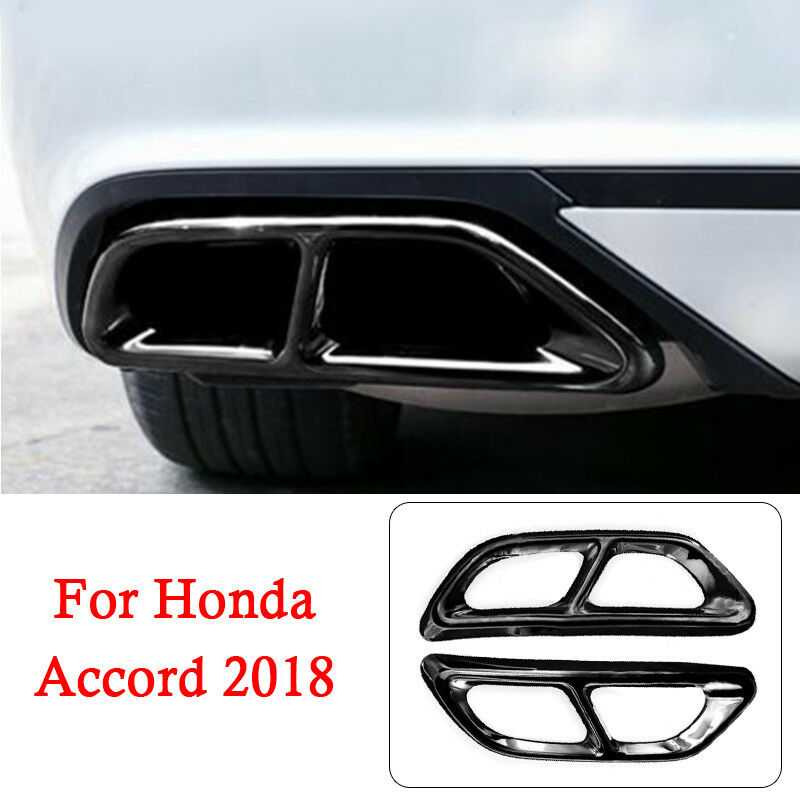 Black Titanium Rear Cylinder Exhaust Pipe Cover Trim Fits Accord 2018 2019