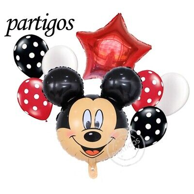 8 pcs Mickey Mouse Happy Birthday Foil Balloons Party Decorations Latex Boy Girl ()