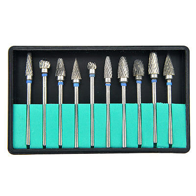 Tungsten Steel Dental Burs Lab Burrs Tooth Drill 10 Pcs Pack Dentist Use Tool