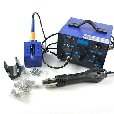 862d 2in1 Power Supply Smd Soldering Rework Station Hot Air Gun Black 700w 110v