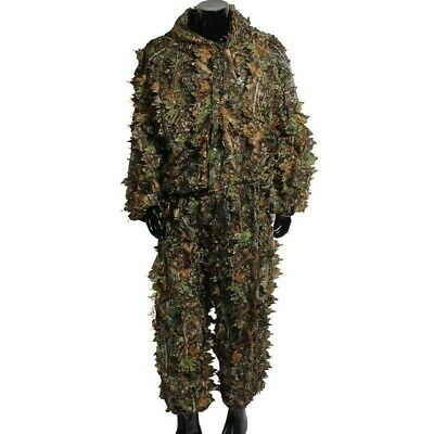 3D Ghillie Suit Set Jungle Woodland Hunting Tactical Camouflage Leafy Clothes US