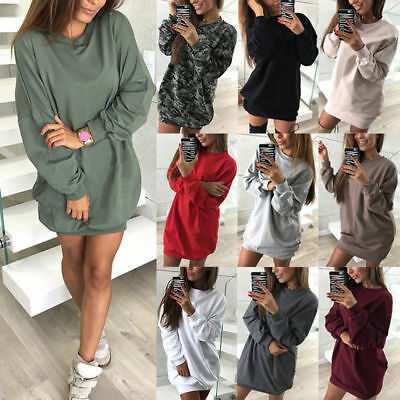 2018 Women Girls Casual Sweatshirt Long Sleeve Sweater Jumper Winter Dress Hot - Winter Dress Girls