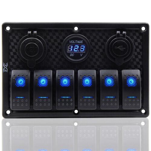 12//24V LED Schaltpanel Schalter Schalttafel 2USB+Voltmeter Zigarettenanzünder DE