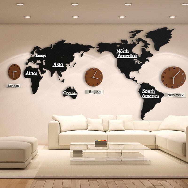 Details About 3d World Map Wall Clocks Diy Wooden Art Home Living Room Decor Wall Sticks Mute