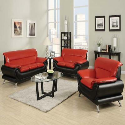 Zenith Furniture Orel Black and Red Sofa and Loveseat