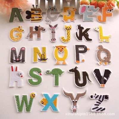 Animal Letters Badges Embroidered Iron on Hat Patch Alphabet Children Name -
