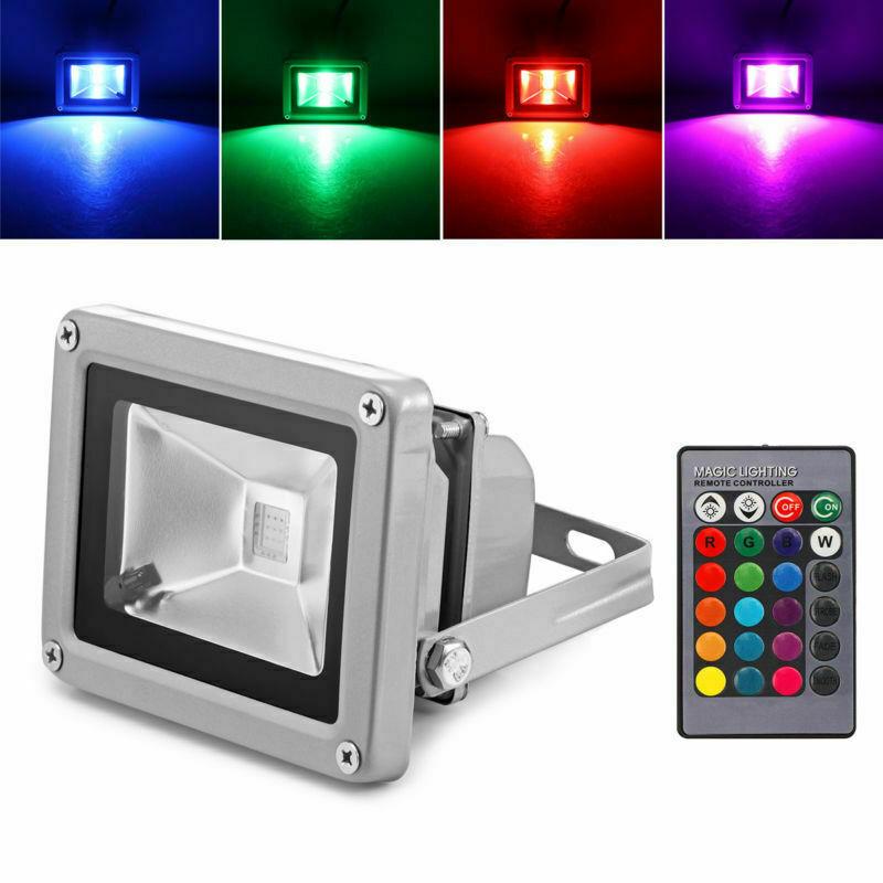 30W LED Flutlicht Fluter RGB Scheinwerfer Außen Strahler Baustrahler Garten Lich