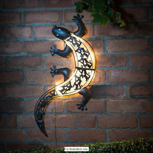 Solar Powered Bright LED Light Metal Gecko Garden Ornaments Decoration Wall Art