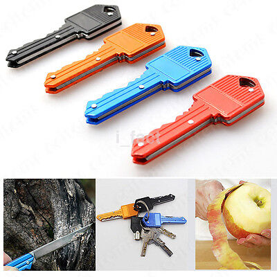 New Camping Outdoor Survival Pocket Folding Stainless Steel Key Shape Knife US