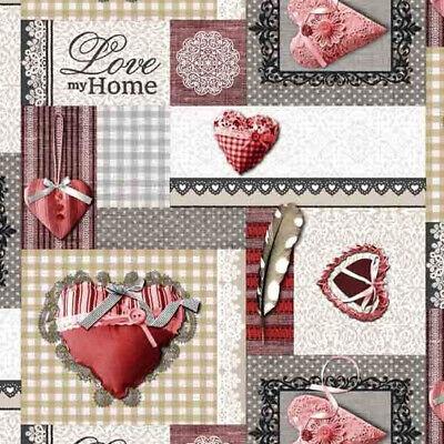 Wachstuch Tischdecke abwaschbar Gartentischdecke Meterware Karo Kariert Herz Rot (Rot Karierten Tischtuch)