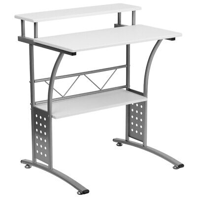 Computer Desk Or Lap Top Desk With White Laminated Top And Lower Storage Shelves