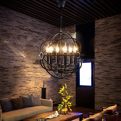 Industrail Orb Chandelier Light Foyer Pendant Lamp Vintage Ceiling Light Fixture
