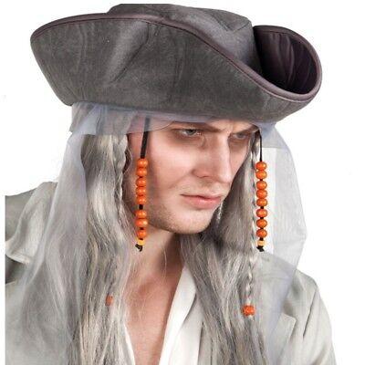 graue ZOMBIE PIRAT PERÜCKE  mit Dreispitz Hut - Halloween Pirat Zubehör