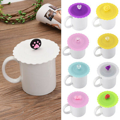 Cup Lids (Fashion Cute Soft Silicone Lid Cap Coffee Mug Cup Cover Suction Seal Fruit)