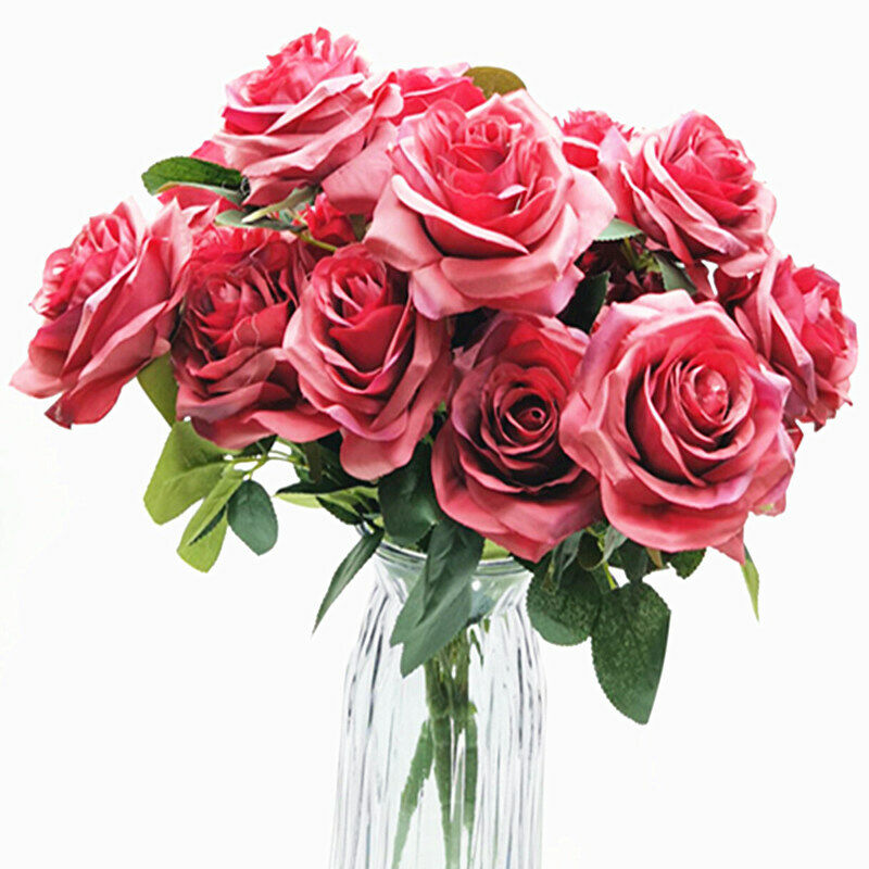 Home Decoration - 10 Heads Bouquet Silk Rose Artificial Flowers Fake Buch Wedding Home Party Decor