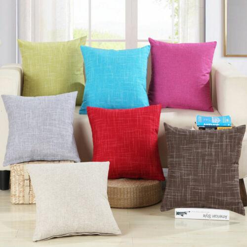 Vintage Plain Cotton Throw Pillow Cases Seat Cushion Cover H