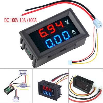 New Dc 100v 10a 100a Voltmeter Ammeter Blue Red Led Digital Volt Meter Gauge