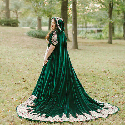 Dark Green Velvet Wedding Cloak With Hood Lace Appliques Bridal Cape Bolero Wrap