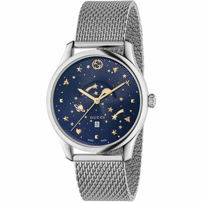 GUCCI MENS G-TIMELESS MOONPHASE WATCH YA126328 SILVER STRAP DIAL RRP £1250.00
