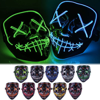 3-Modes LED Mask Cosplay Costume Light Up Scary Halloween Party Purge Wire Decor - Scary Costums