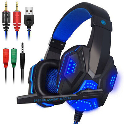 3.5mm Gaming Headset MIC LED Headphones for Computer PC Laptop Gamer Best (Best Pc Headphones With Mic)