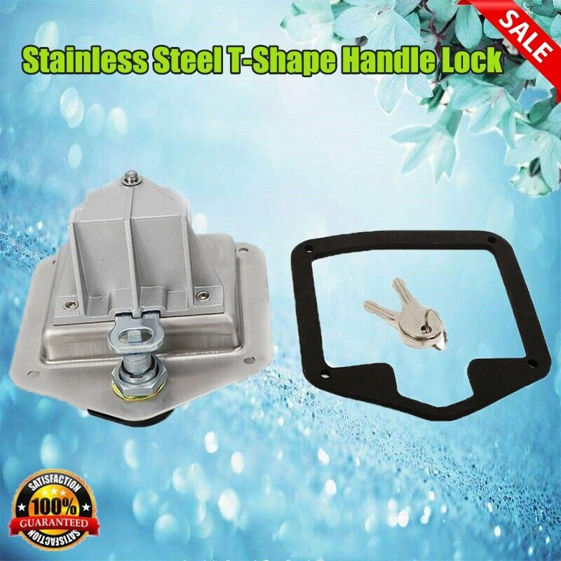 T-Shape Lock+Rubber gaskets+2*Key Stainless Folding Box Truck Trailer Camp NEW